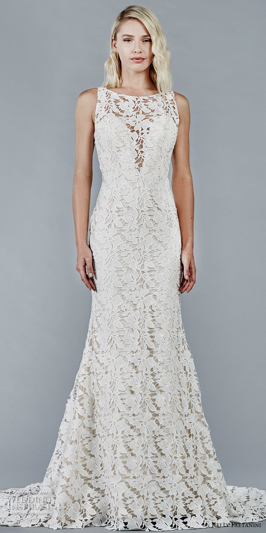 kelly faetanini fall 2018 bridal sleeveless bateau neck full lace embellishment elegant trumpet wedding dress keyhole back chapel train (5) mv