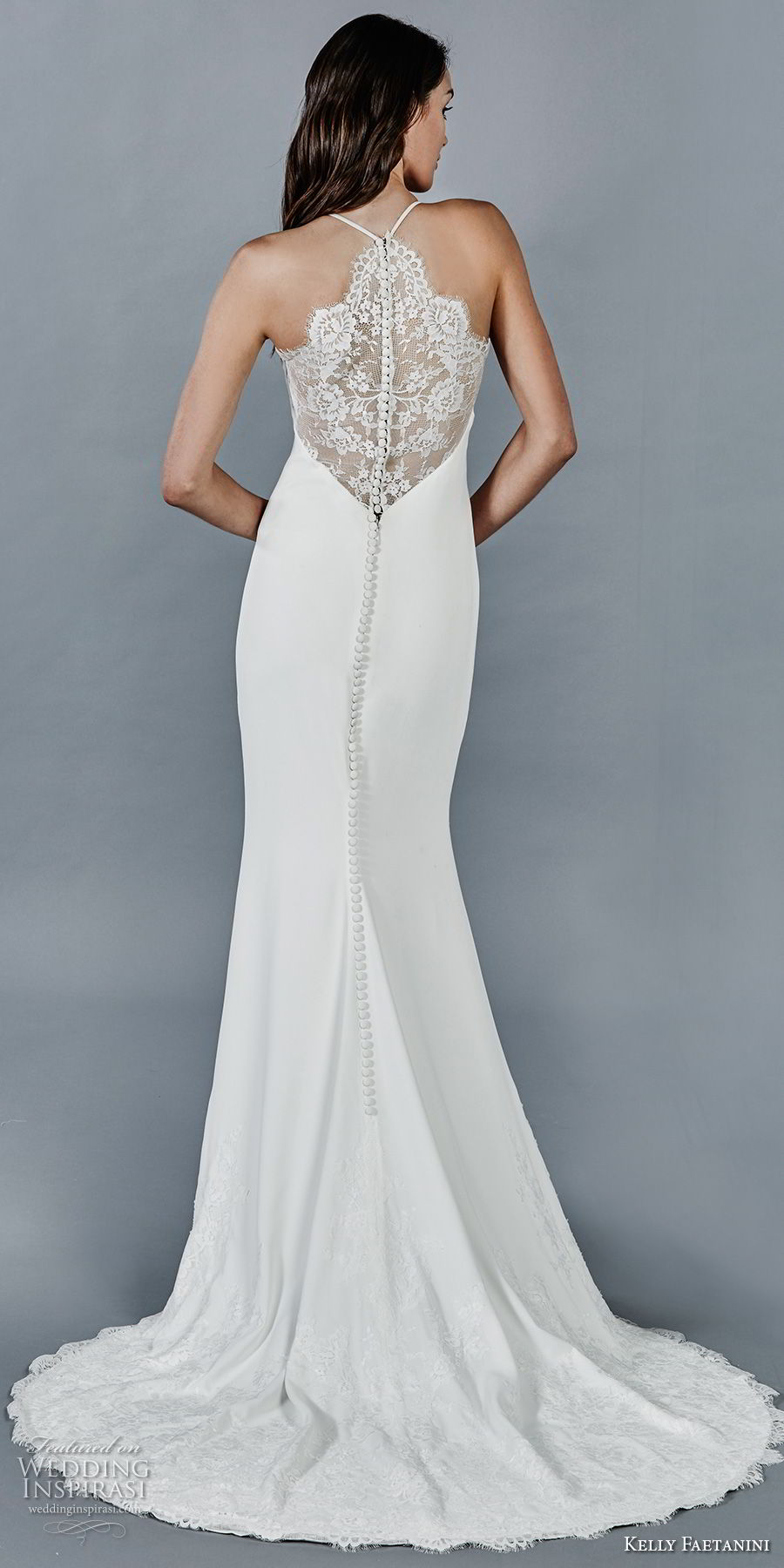 kelly faetanini fall 2018 bridal sleeveless halter jewel neck simple clean elegant sheath wedding dress lace back sweep train (13) bv