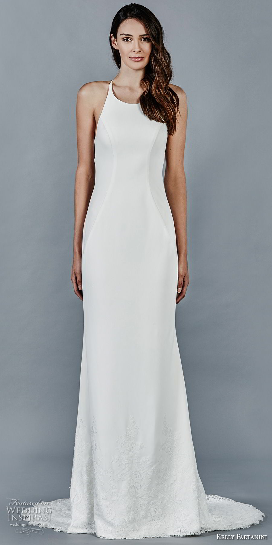 kelly faetanini fall 2018 bridal sleeveless halter jewel neck simple clean elegant sheath wedding dress lace back sweep train (13) mv
