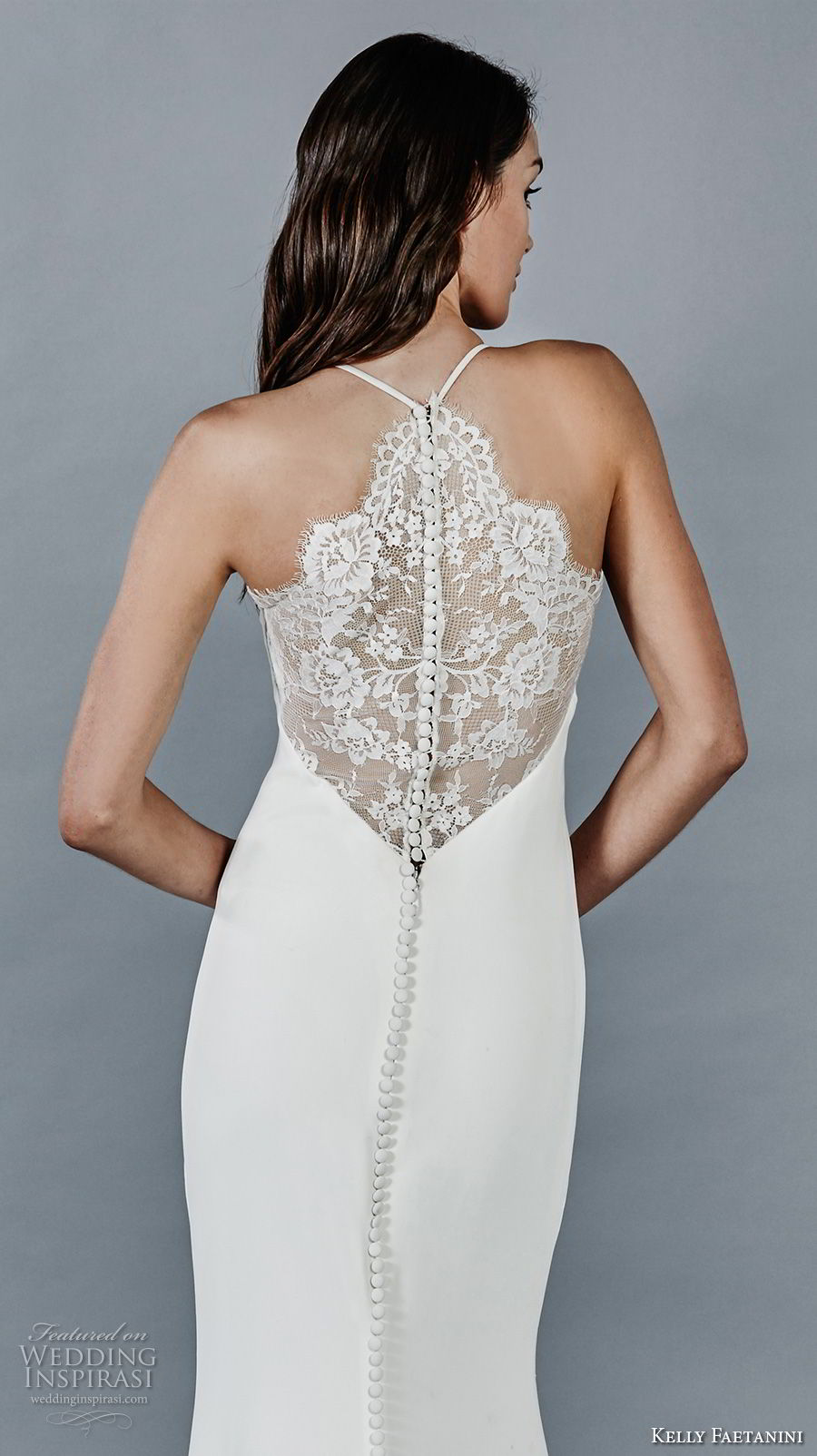 kelly faetanini fall 2018 bridal sleeveless halter jewel neck simple clean elegant sheath wedding dress lace back sweep train (13) zbv
