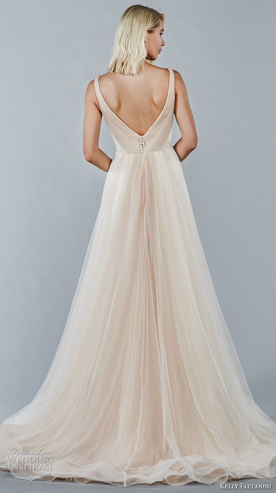 kelly faetanini fall 2018 bridal sleeveless v neck pleated bodice romantic blush color a line wedding dress open v back chapel train (11) bv