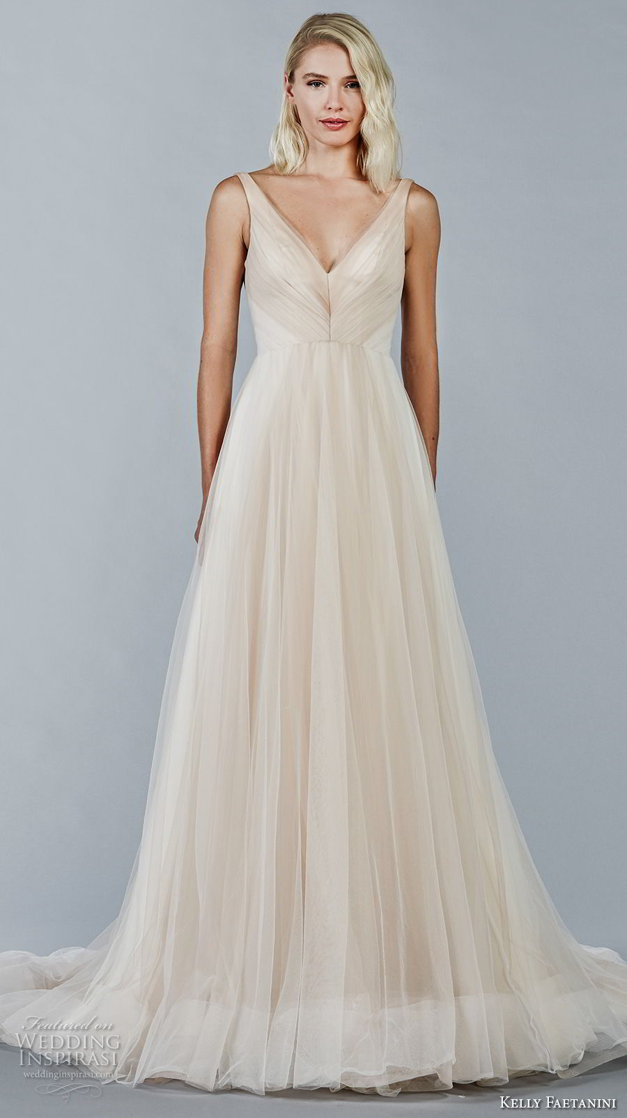 kelly faetanini fall 2018 bridal sleeveless v neck pleated bodice romantic blush color a line wedding dress open v back chapel train (11) mv