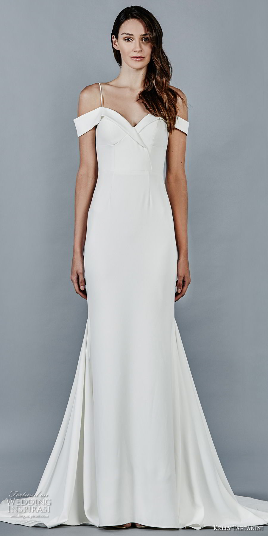 kelly faetanini fall 2018 bridal spaghetti strap off the shoulder sweetheart neckline simple clean fit and flare wedding dress sweep train (7) mv