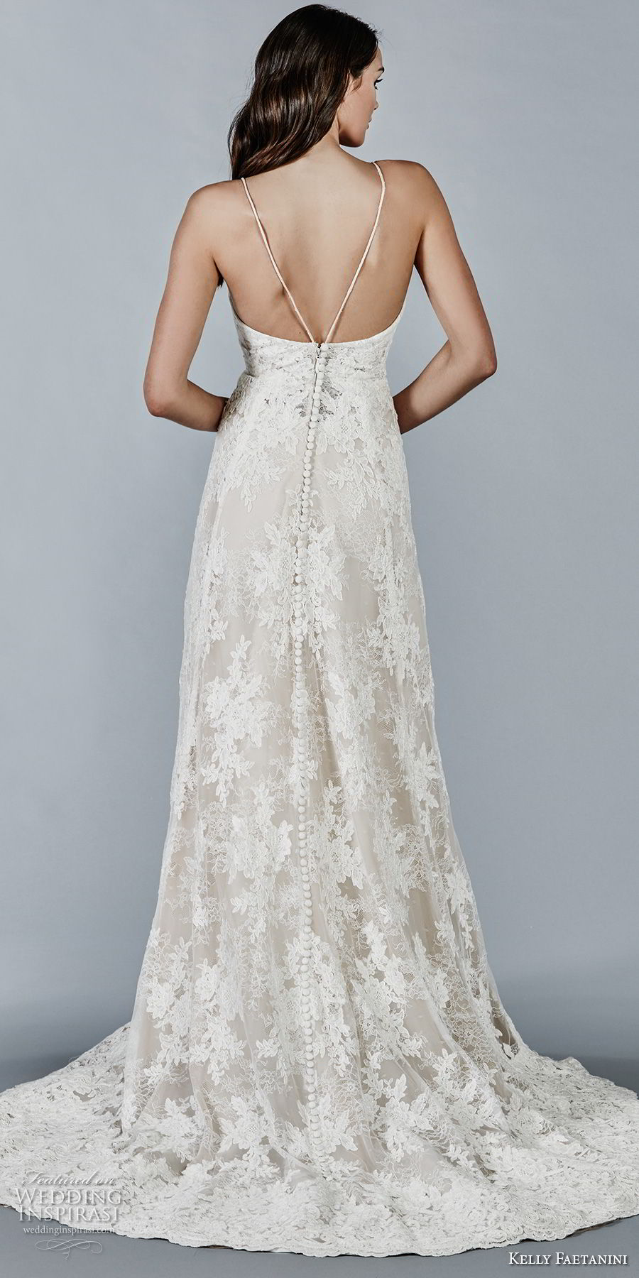 kelly faetanini fall 2018 bridal spaghetti strap v neck full lace embellishment elegant romantic modified a line wedding dress open back sweep train (9) bv
