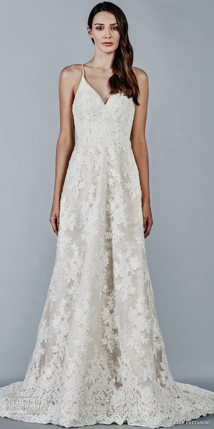 kelly faetanini fall 2018 bridal spaghetti strap v neck full lace embellishment elegant romantic modified a line wedding dress open back sweep train (9) mv