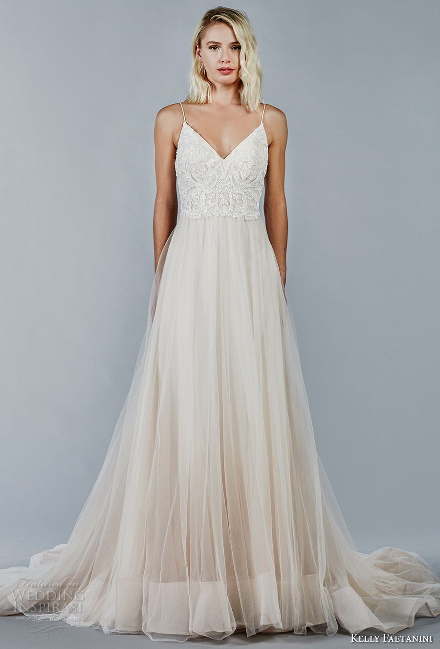 kelly faetanini fall 2018 bridal spaghetti strap v neck heavily embellished bodice tulle skirt romantic a line wedding dress open v back chapel train (3) mv
