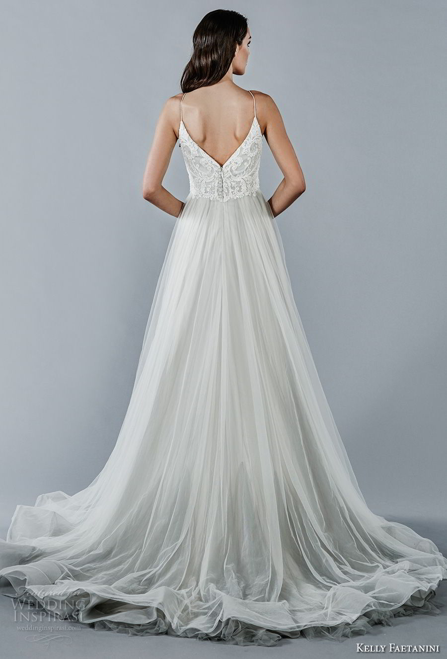 kelly faetanini fall 2018 bridal spaghetti strap v neck heavily embellished bodice tulle skirt romantic pastel blue color a line wedding dress open v back chapel train (4) bv