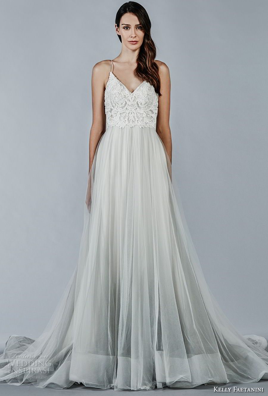 kelly faetanini fall 2018 bridal spaghetti strap v neck heavily embellished bodice tulle skirt romantic pastel blue color a line wedding dress open v back chapel train (4) mv