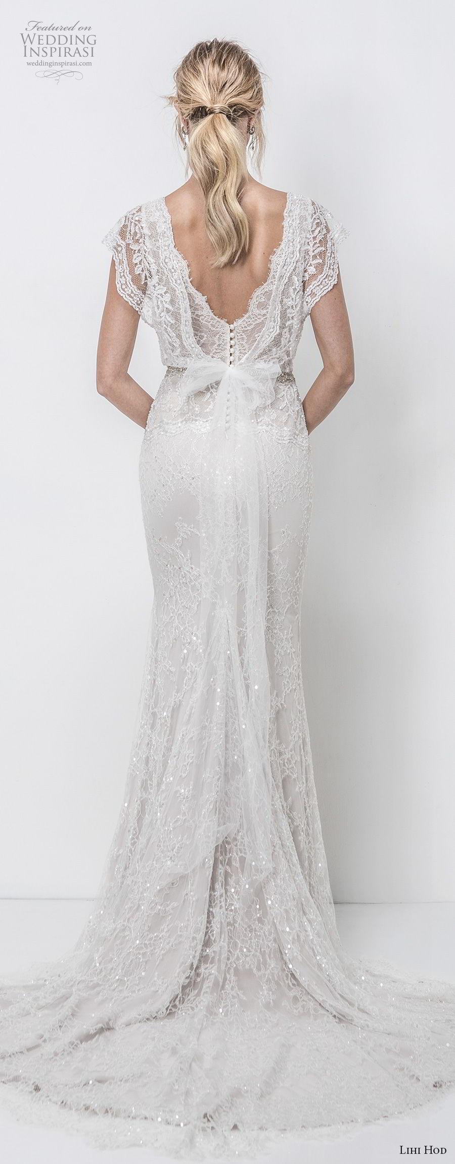 lihi hod 2018 bridal butterfly sleeves v neck full embellishent romantic bohemian a  line wedding dress v back chapel train (2) bv