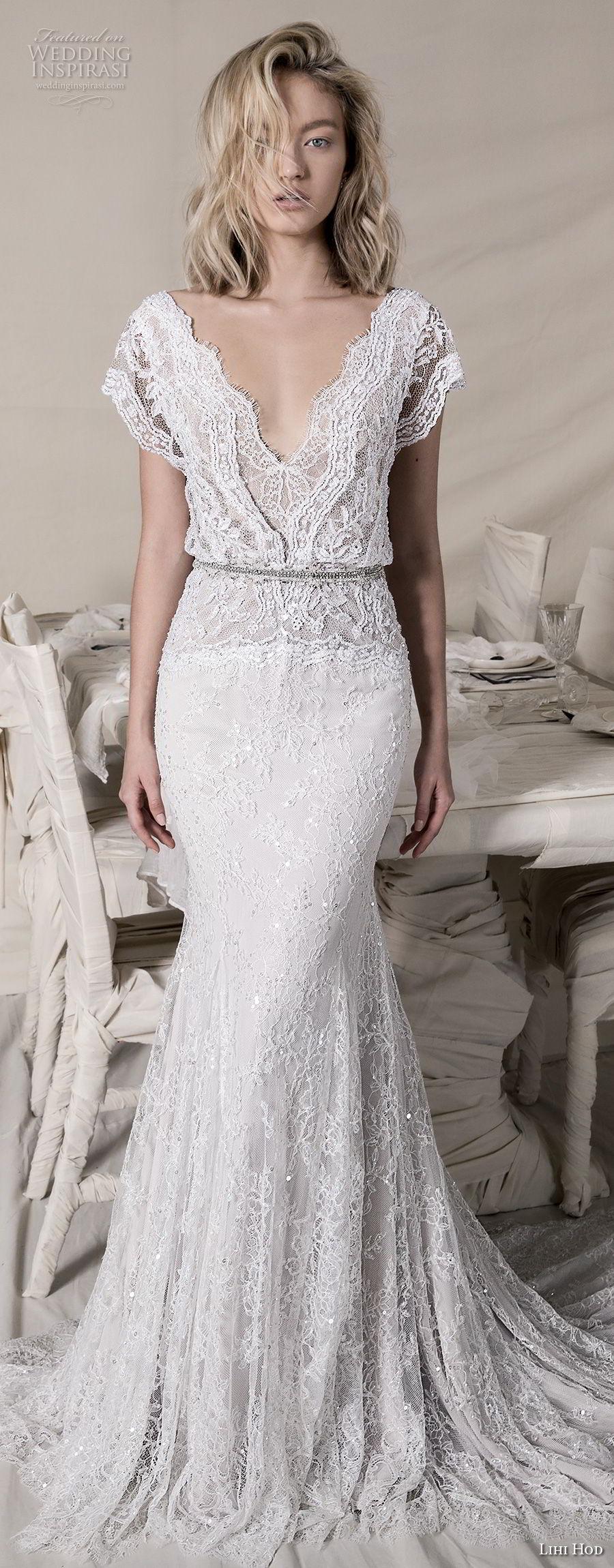 lihi hod 2018 bridal butterfly sleeves v neck full embellishent romantic bohemian a  line wedding dress v back chapel train (2) mv