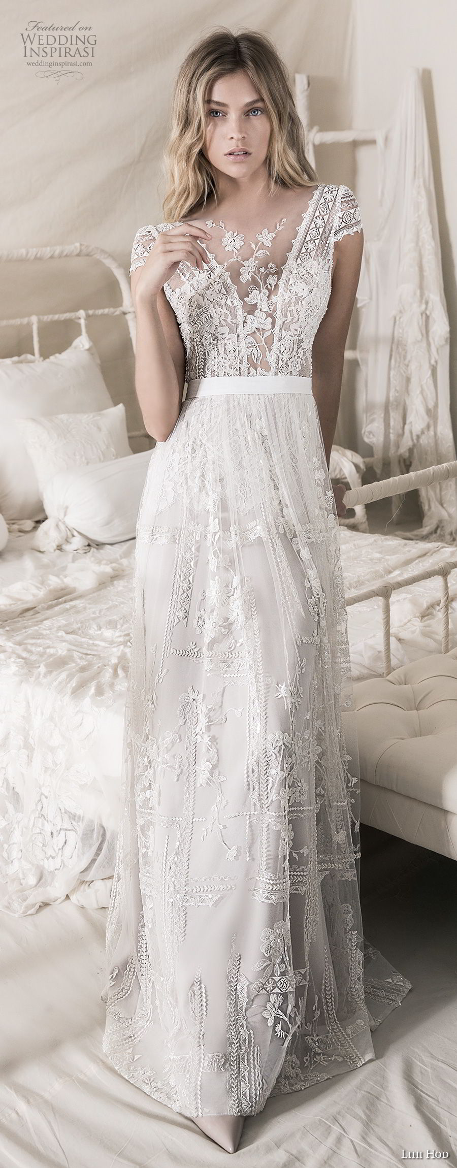 lihi hod 2018 bridal cap sleeves illusion jewel deep v neck heavily embellised bodice romantic bohemian soft a  line wedding dress open strap back sweep train (5) mv fv