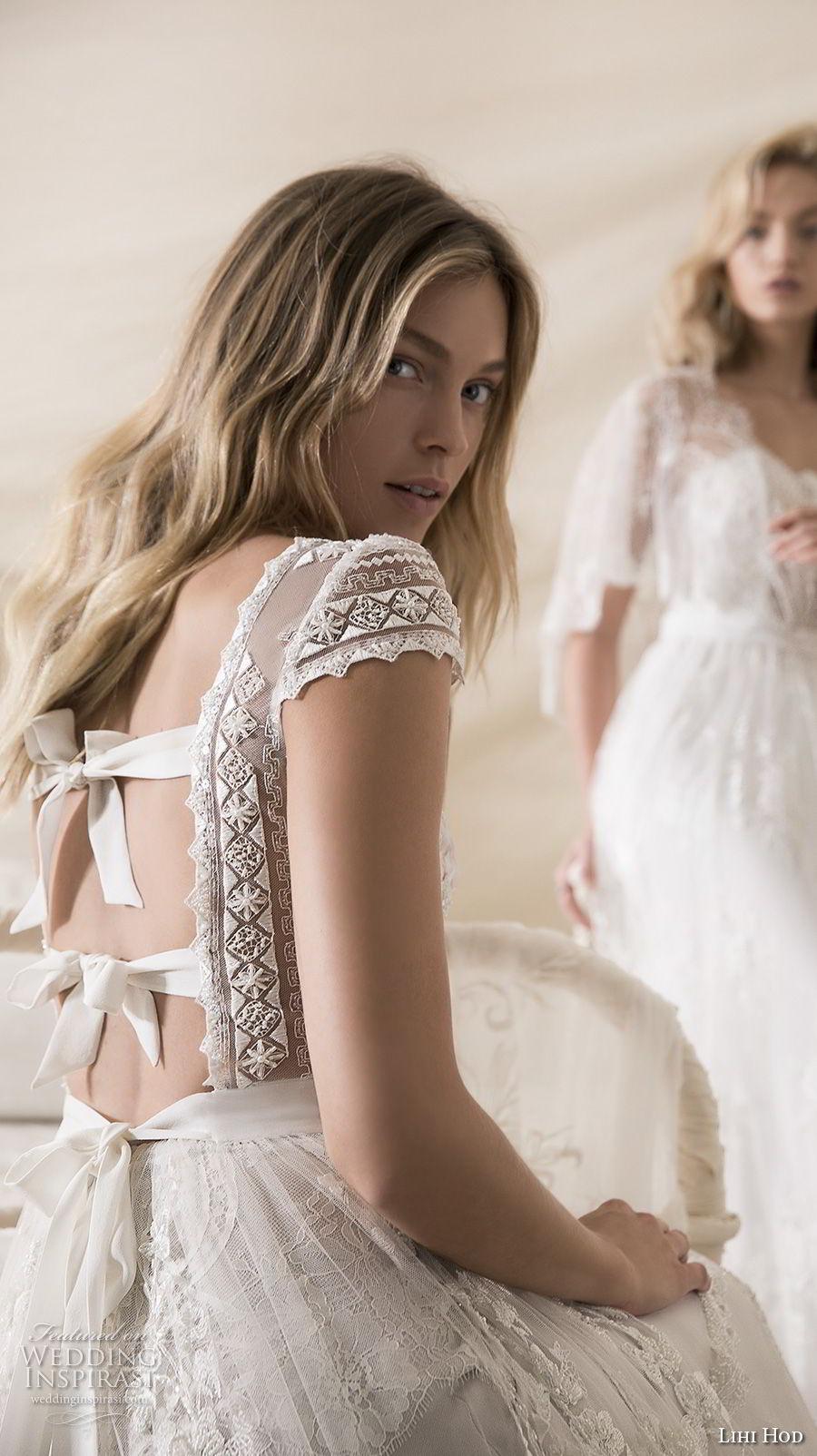 lihi hod 2018 bridal cap sleeves illusion jewel deep v neck heavily embellised bodice romantic bohemian soft a  line wedding dress open strap back sweep train (5)  zbv