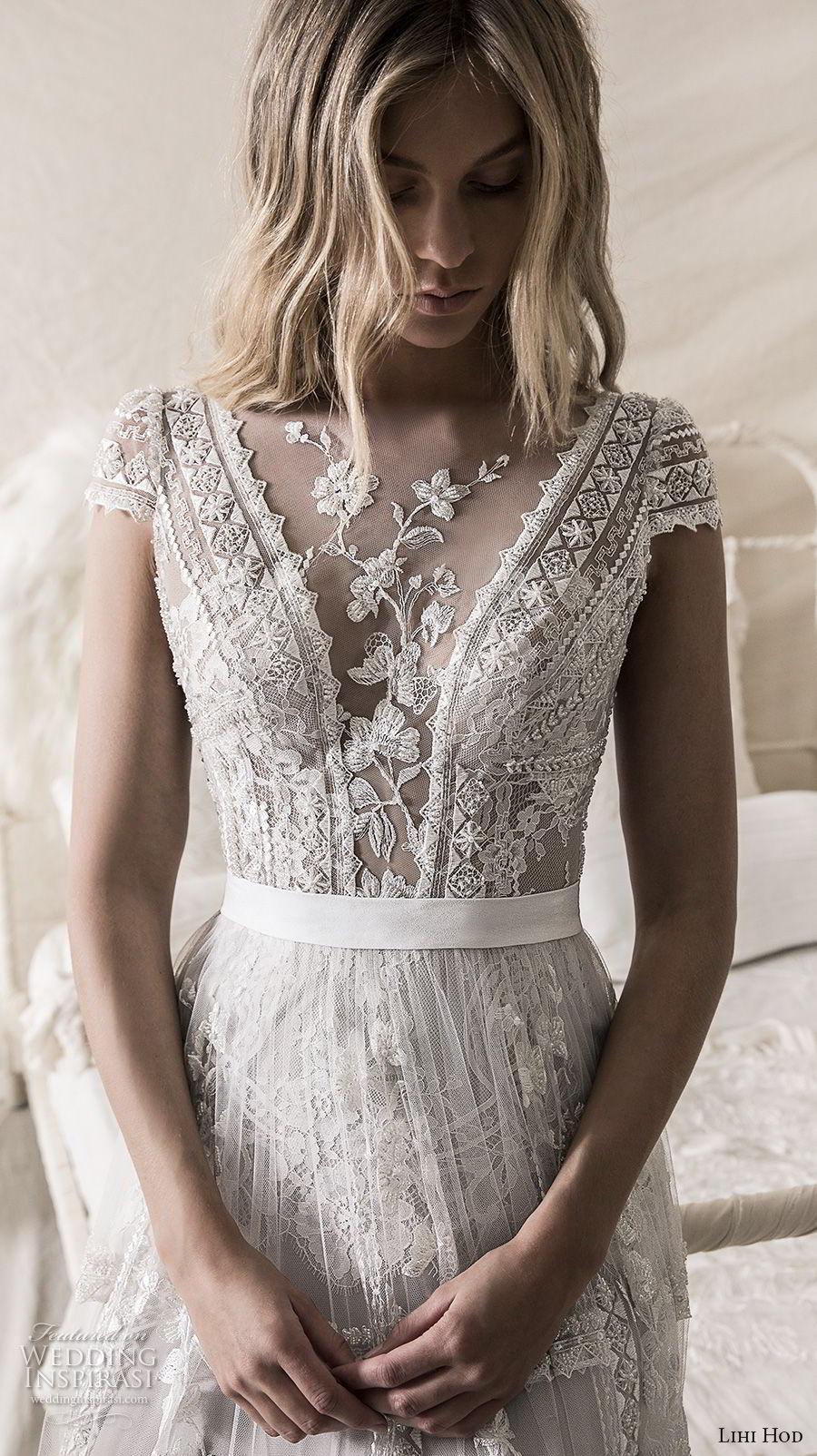 lihi hod 2018 bridal cap sleeves illusion jewel deep v neck heavily embellised bodice romantic bohemian soft a  line wedding dress open strap back sweep train (5) zv
