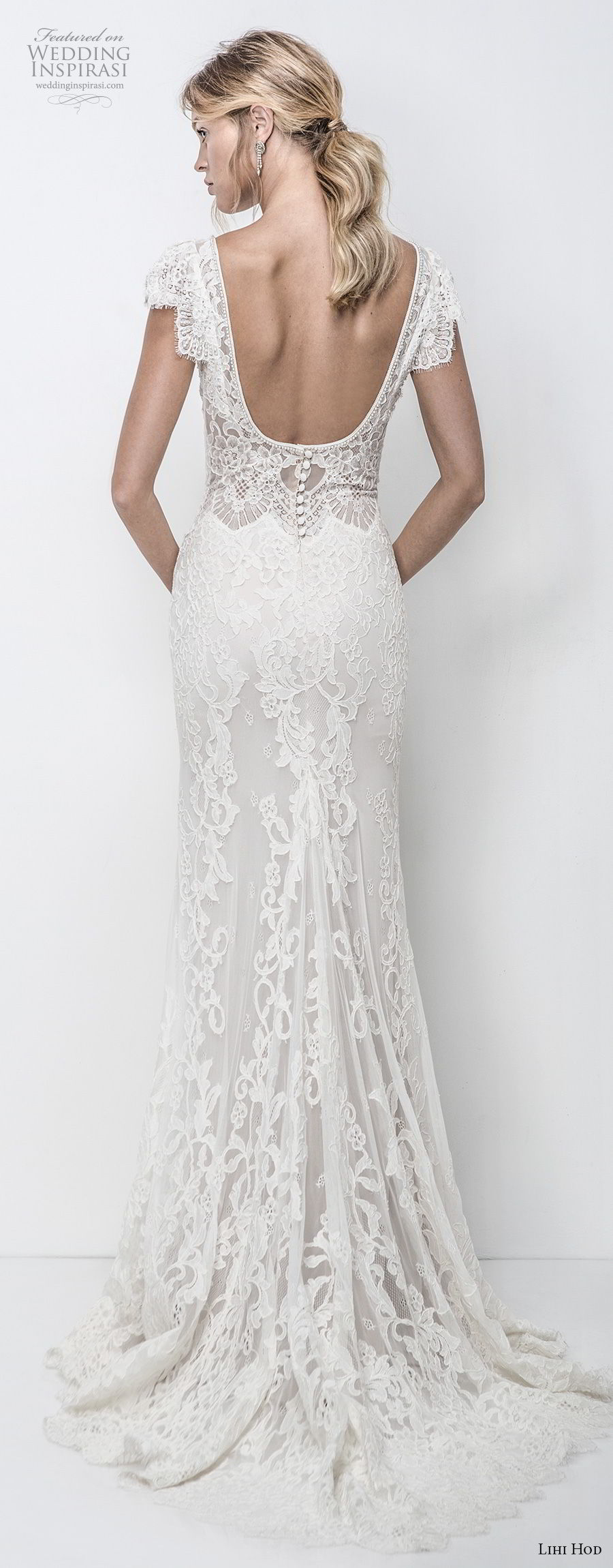 lihi hod 2018 bridal cap sleeves v neck full embellishment elegant romantic fit and flare sheath wedding dress open scoop back sweep train (8)  bv