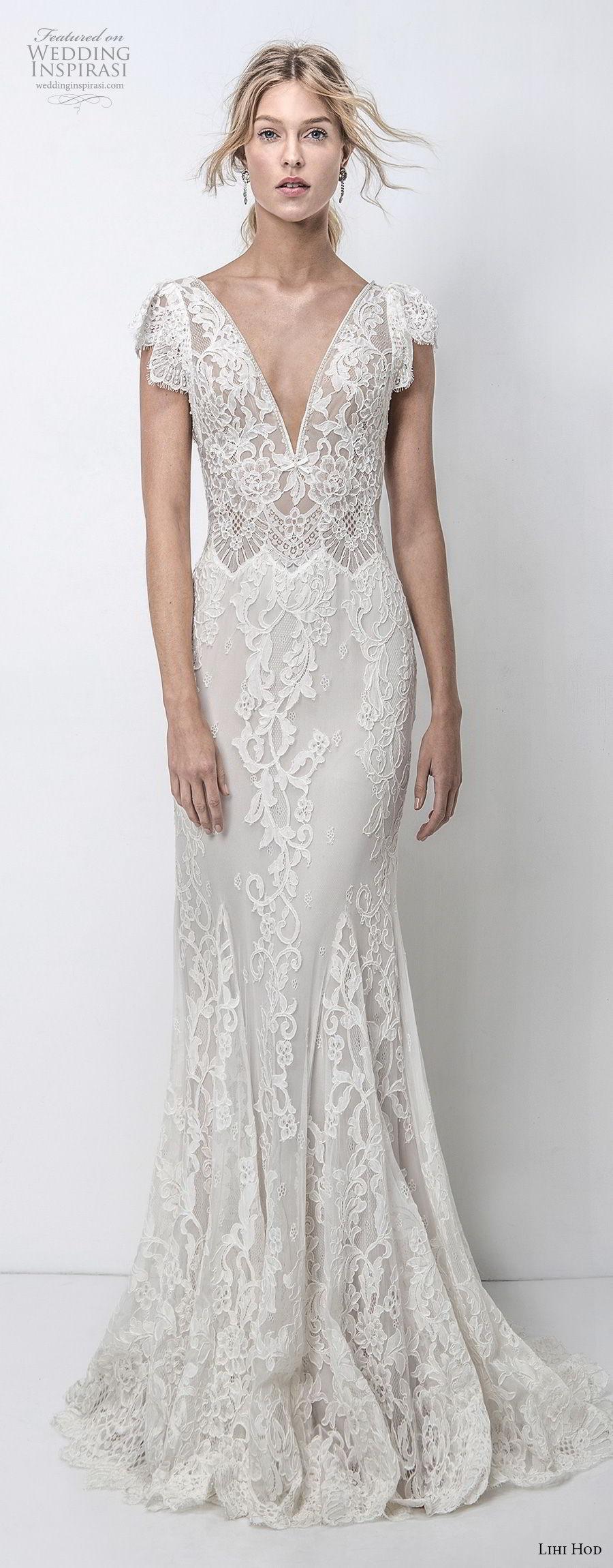 lihi hod 2018 bridal cap sleeves v neck full embellishment elegant romantic fit and flare sheath wedding dress open scoop back sweep train (8) fv mv