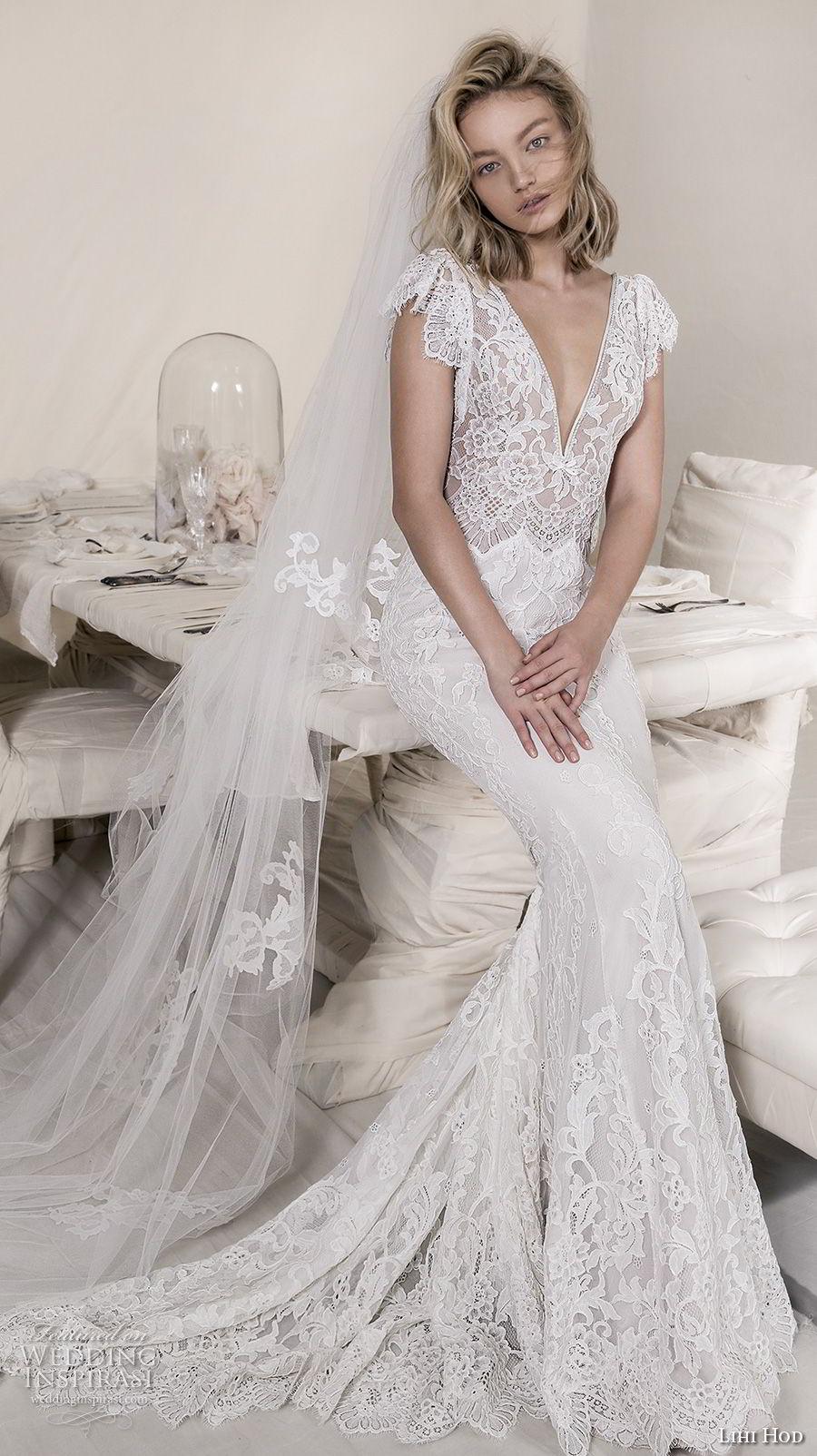 lihi hod 2018 bridal cap sleeves v neck full embellishment elegant romantic fit and flare sheath wedding dress open scoop back sweep train (8) mv