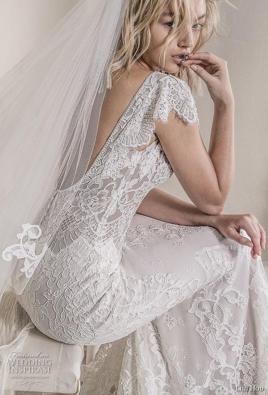 lihi hod 2018 bridal cap sleeves v neck full embellishment elegant romantic fit and flare sheath wedding dress open scoop back sweep train (8) zbv