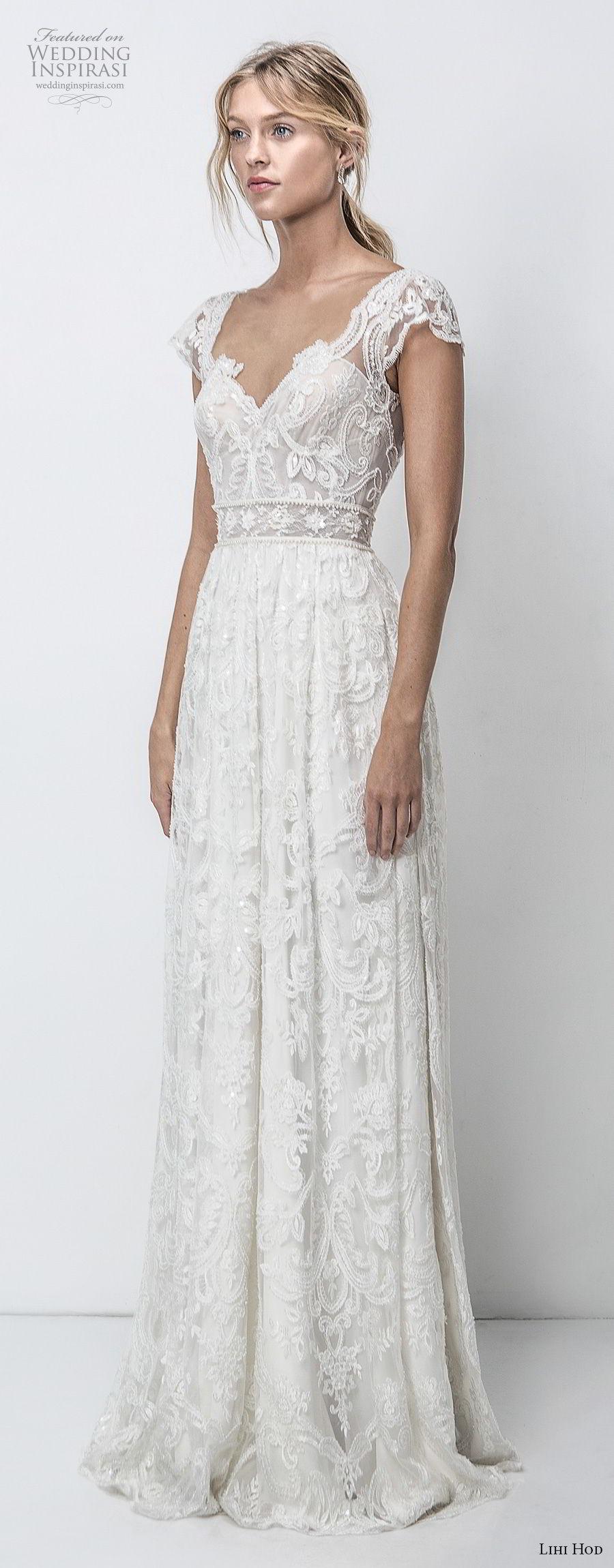 lihi hod 2018 bridal cap sleeves v neck full embellishment romantic bohemian soft a  line wedding dress keyhole back sweep train (9) mv lv