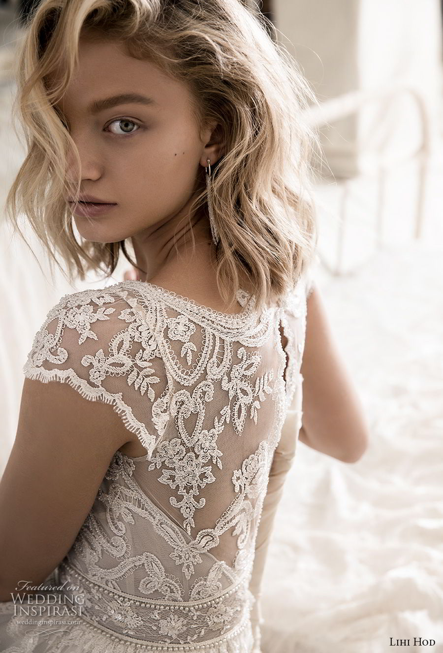 lihi hod 2018 bridal cap sleeves v neck full embellishment romantic bohemian soft a  line wedding dress keyhole back sweep train (9) zbv