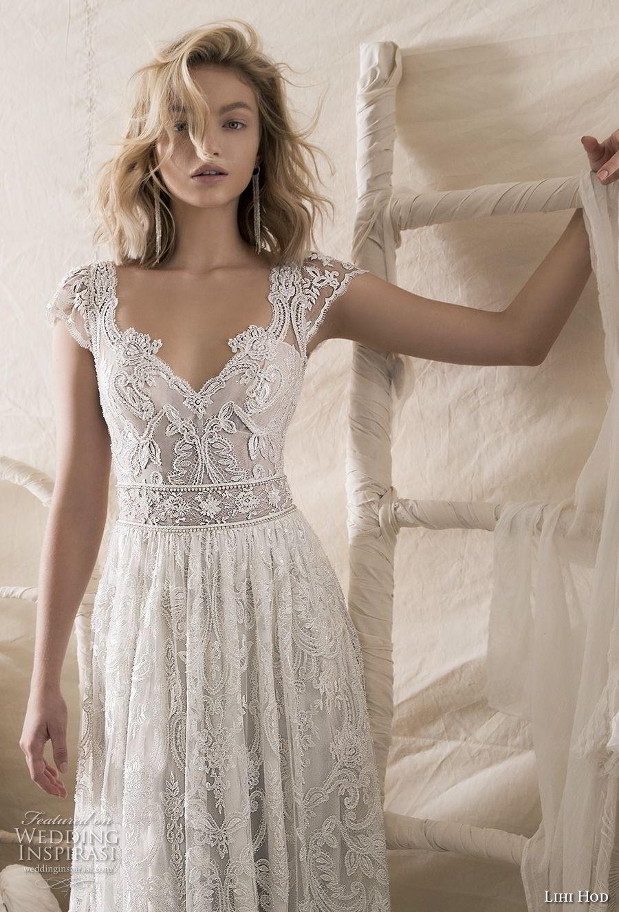 lihi hod 2018 bridal cap sleeves v neck full embellishment romantic bohemian soft a  line wedding dress keyhole back sweep train (9) zv