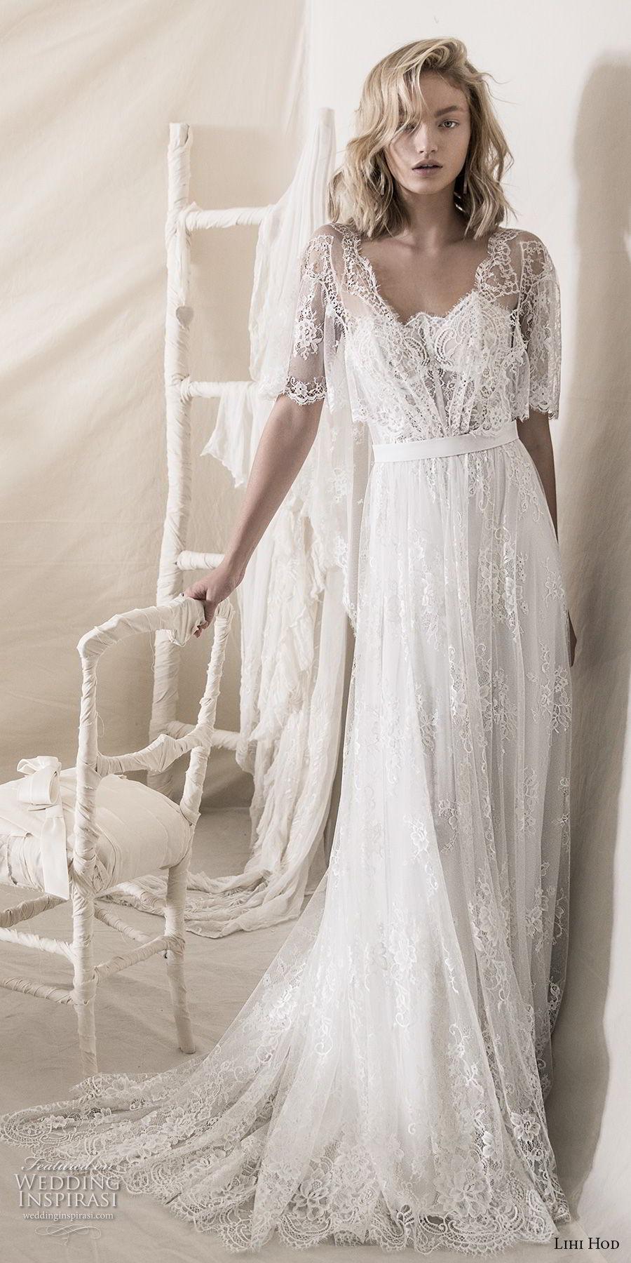 lihi hod 2018 bridal half bell sleeves square neckline full embellishment romantic bohemian soft a  line wedding dress open v back medium train (7) mv