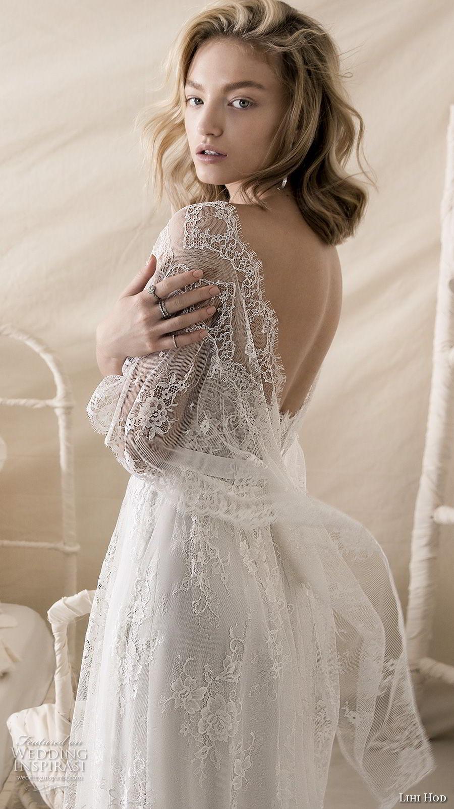lihi hod 2018 bridal half bell sleeves square neckline full embellishment romantic bohemian soft a  line wedding dress open v back medium train (7) zbv