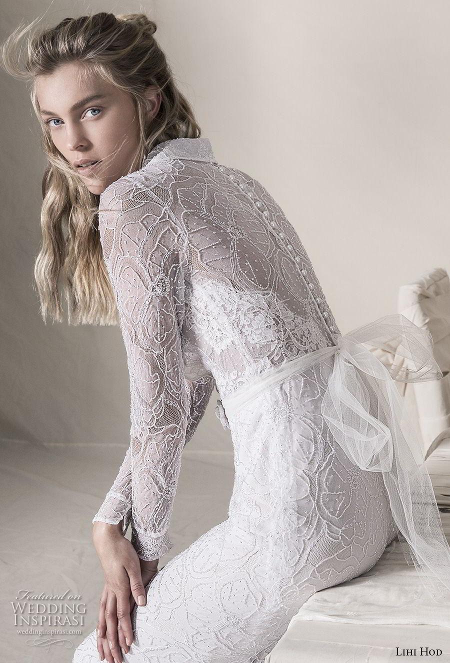 lihi hod 2018 bridal long sleeves notched collar deep v neck full embellishment elegant fit and flare sheath wedding dress covered lace back sweep train (12) bv