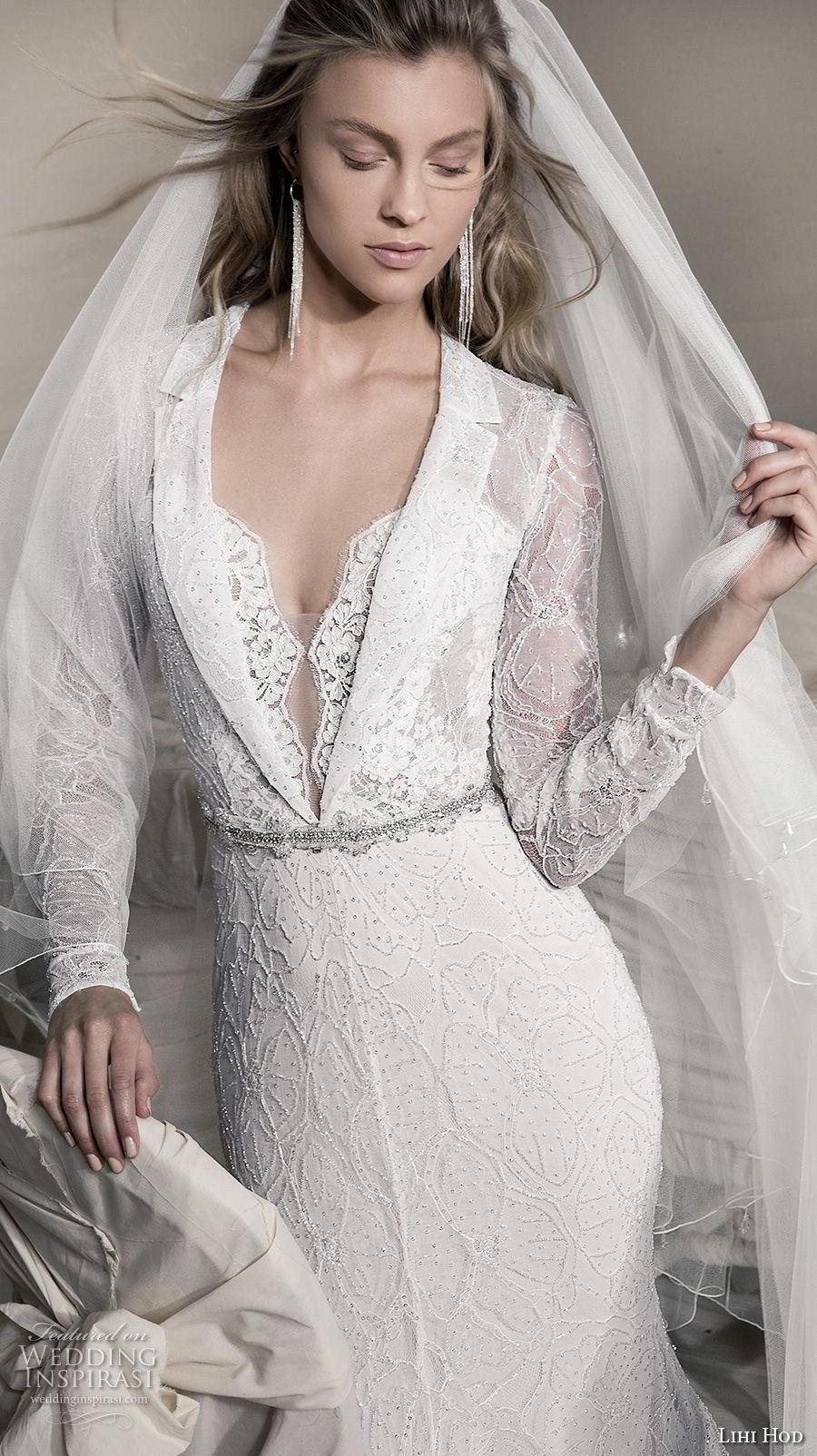 lihi hod 2018 bridal long sleeves notched collar deep v neck full embellishment elegant fit and flare sheath wedding dress covered lace back sweep train (12) zv