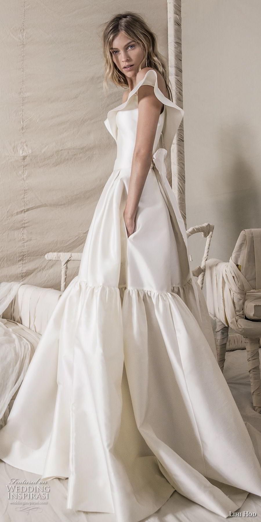 lihi hod 2018 bridal off the shoulder v neck simple clean bodice elegant ball gown a  line wedding dress with pockets chapel train (15) mv sdv