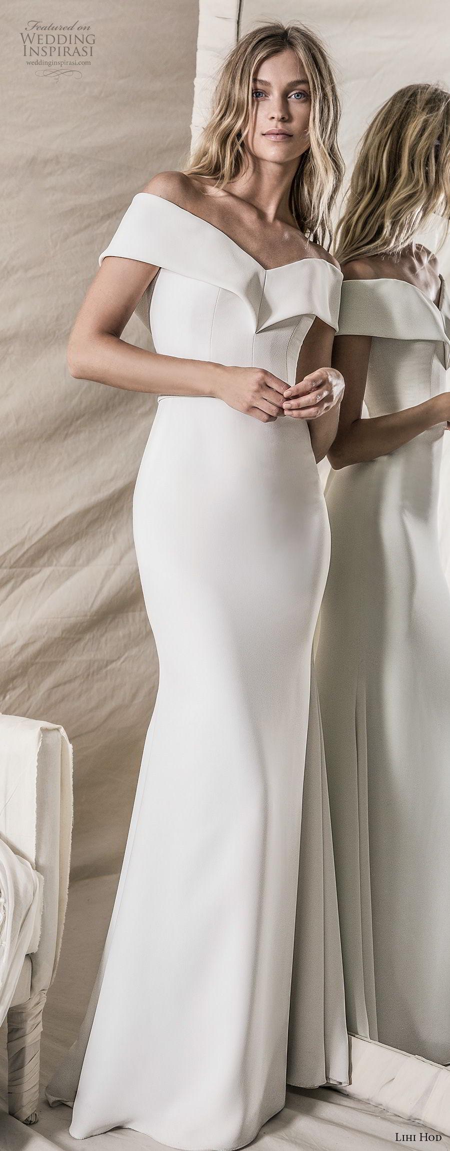 lihi hod 2018 bridal off the shoulder v neck simple clean bodice elegant sheath wedding dress sweep train (14) mv