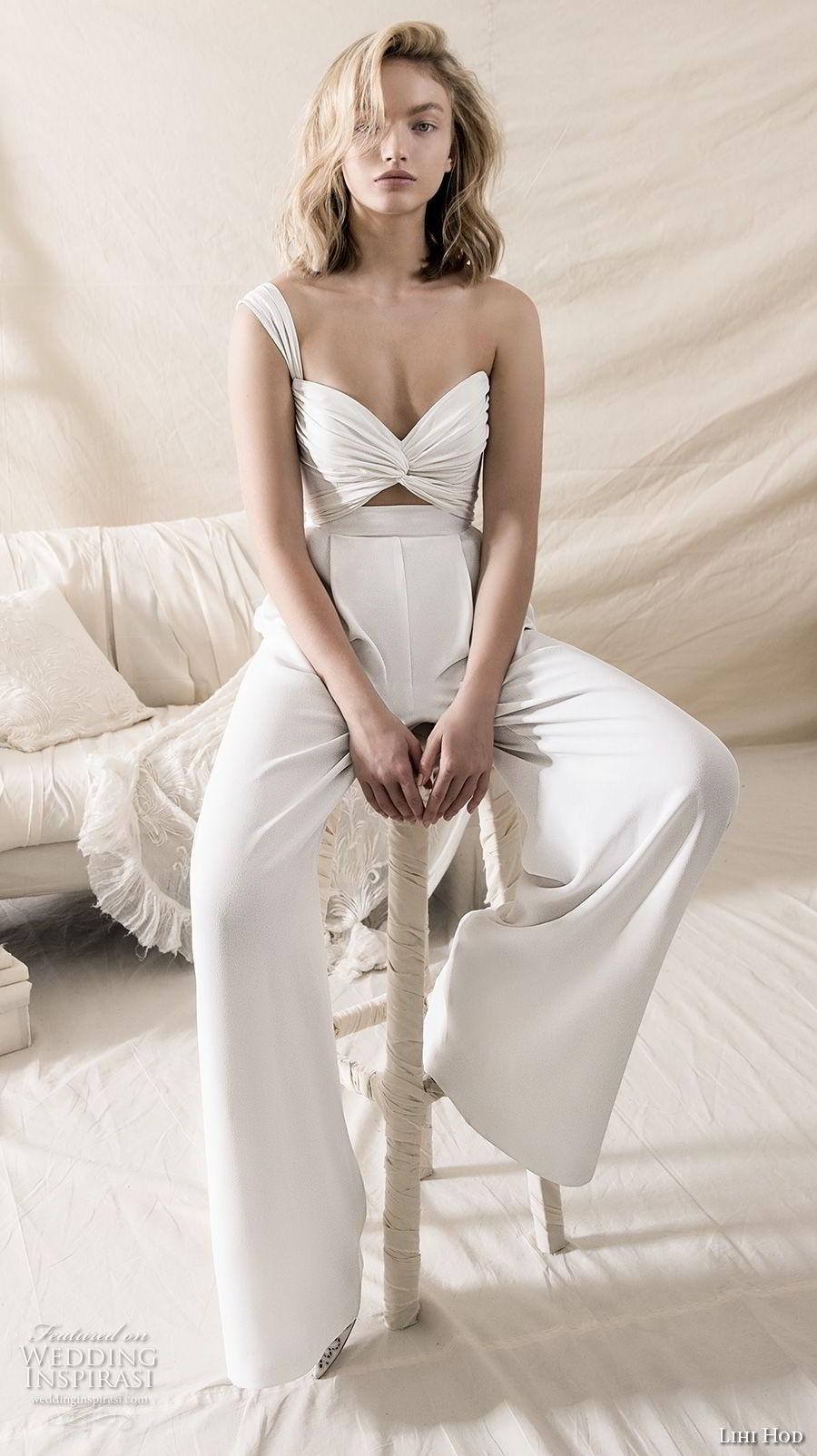 lihi hod 2018 bridal one shoulder sweetheart bikini top sophiscated chic pants wedding dress (16) mv