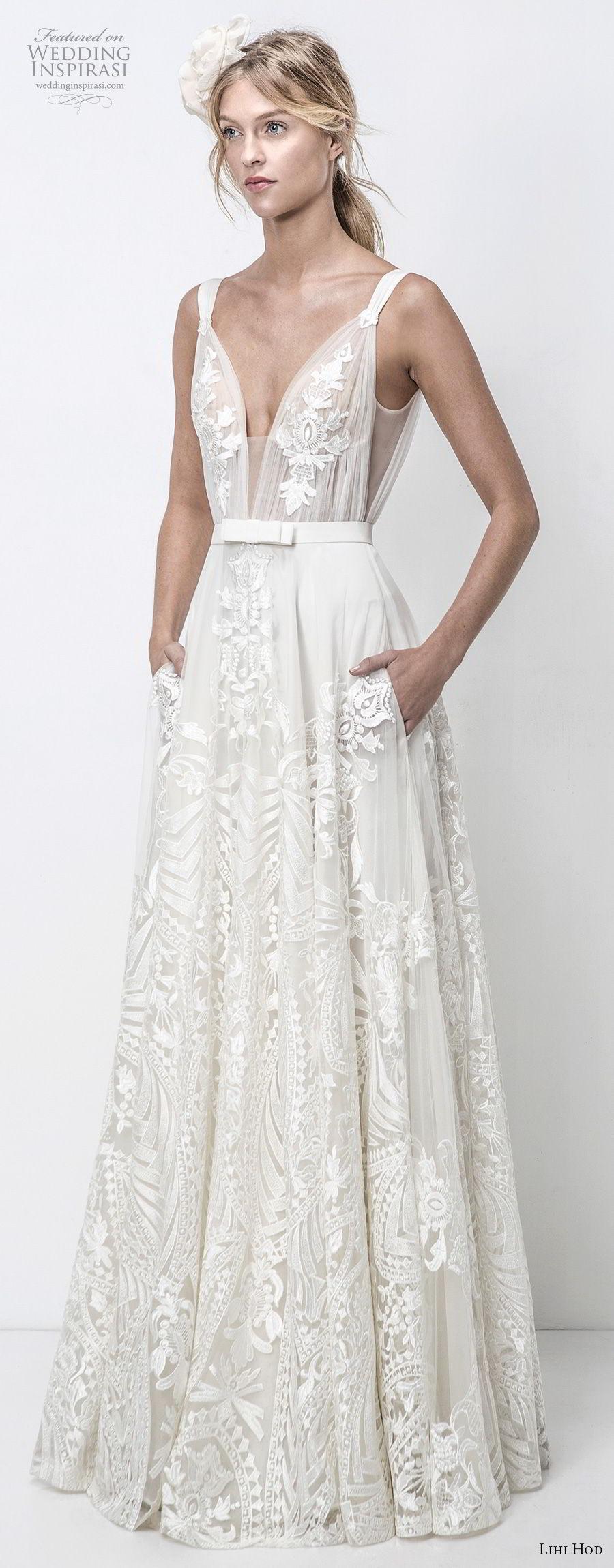 lihi hod 2018 bridal sleeveless deep v neck full embellishment romantic soft a  line wedding dress with pockets open v back sweep train (17) mv
