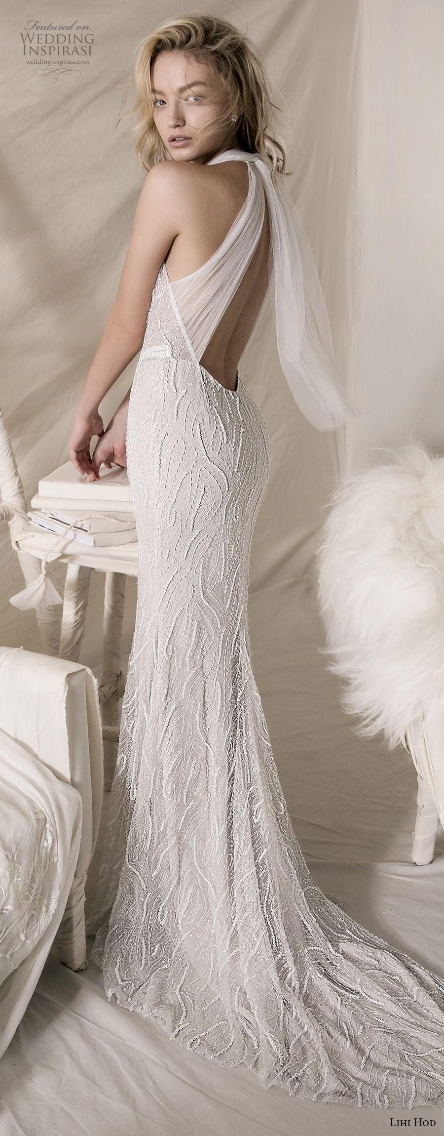 lihi hod 2018 bridal sleeveless halter jewel neck full embellishment elegant sheath wedding dress keyhole back sweep train (11) bv