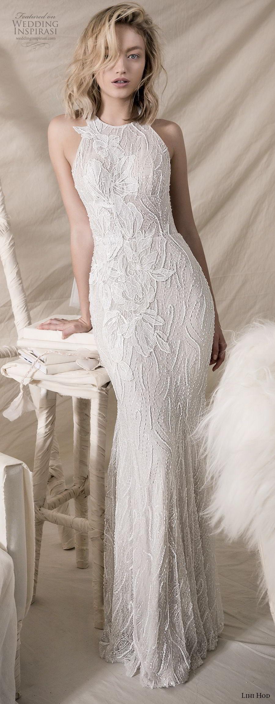 lihi hod 2018 bridal sleeveless halter jewel neck full embellishment elegant sheath wedding dress keyhole back sweep train (11) mv