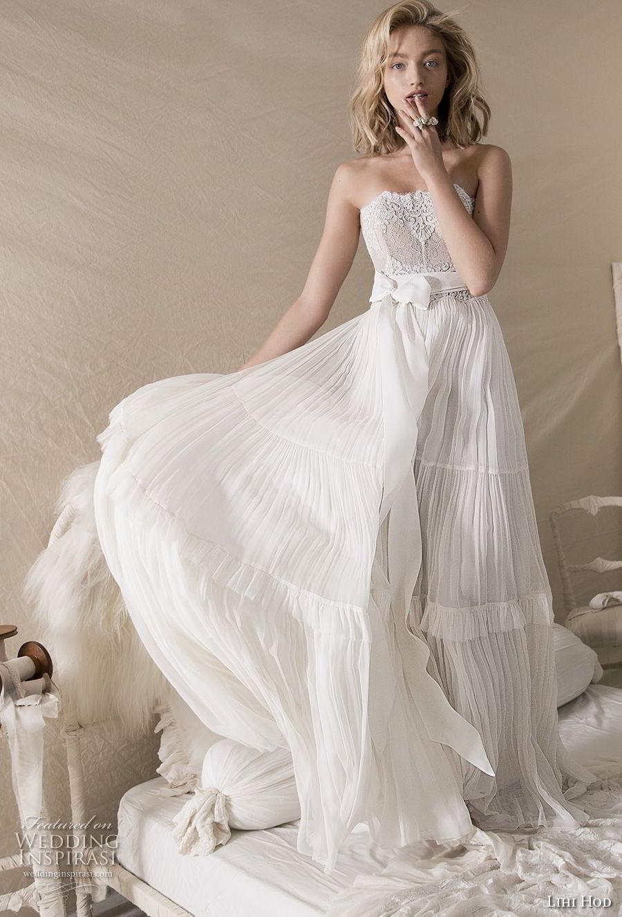 lihi hod 2018 bridal strapless straight across neckline heavily embellished bodice romantic bohemian soft a  line wedding dress medium train (3) mv