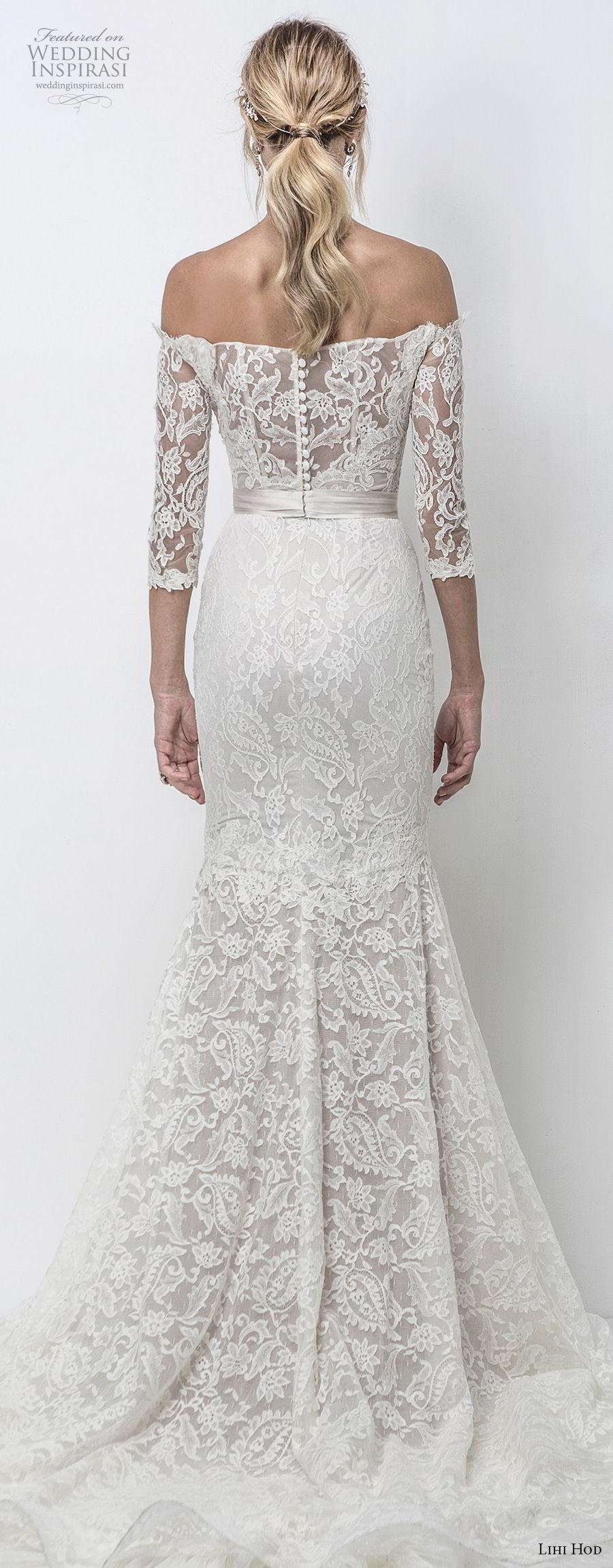 lihi hod 2018 bridal three quarter sleeves off the shoulder straight across neckline full embellishment elegant fit and flare mermaid wedding dress chapel train (10) bv