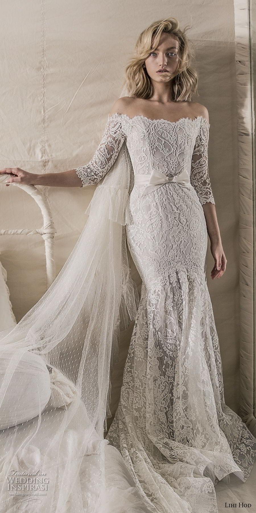 lihi hod 2018 bridal three quarter sleeves off the shoulder straight across neckline full embellishment elegant fit and flare mermaid wedding dress chapel train (10) mv fv