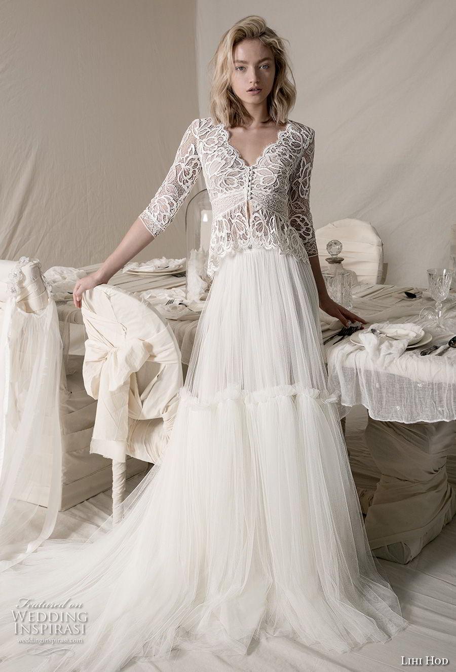lihi hod 2018 bridal three quarter sleeves v neck heavily embellised bodice 2 piece lace jacket romantic a  line wedding dress open back medium train (6) mv