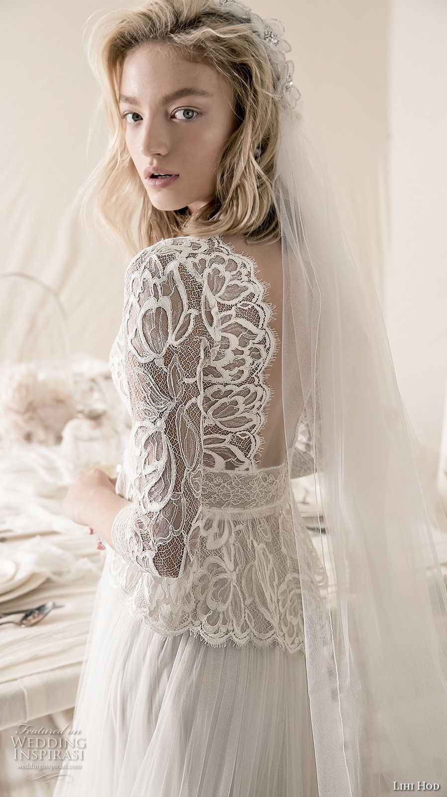 lihi hod 2018 bridal three quarter sleeves v neck heavily embellised bodice 2 piece lace jacket romantic a  line wedding dress open back medium train (6) zbv