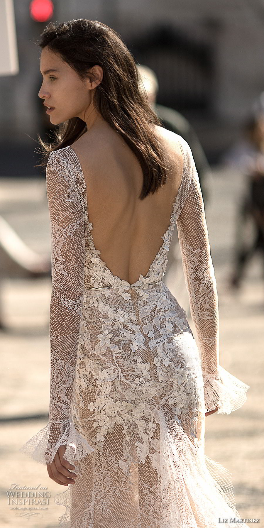 liz martinez 2018 lisbon long sleeves deep v neck full embellishment high slit skirt sexy romantic soft a line wedding dress open low back sweep train (8) bv