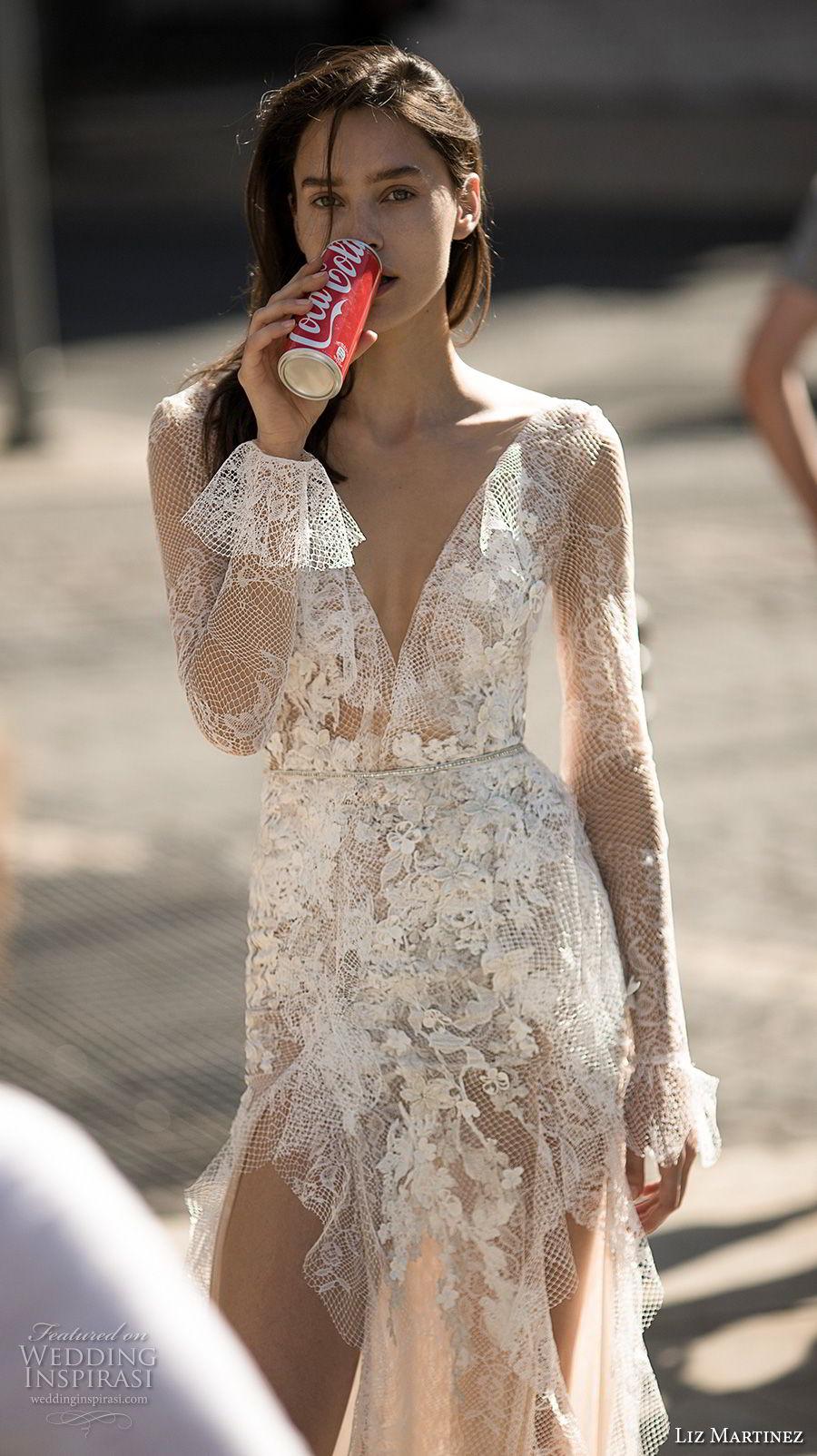 liz martinez 2018 lisbon long sleeves deep v neck full embellishment high slit skirt sexy romantic soft a line wedding dress open low back sweep train (8) zv