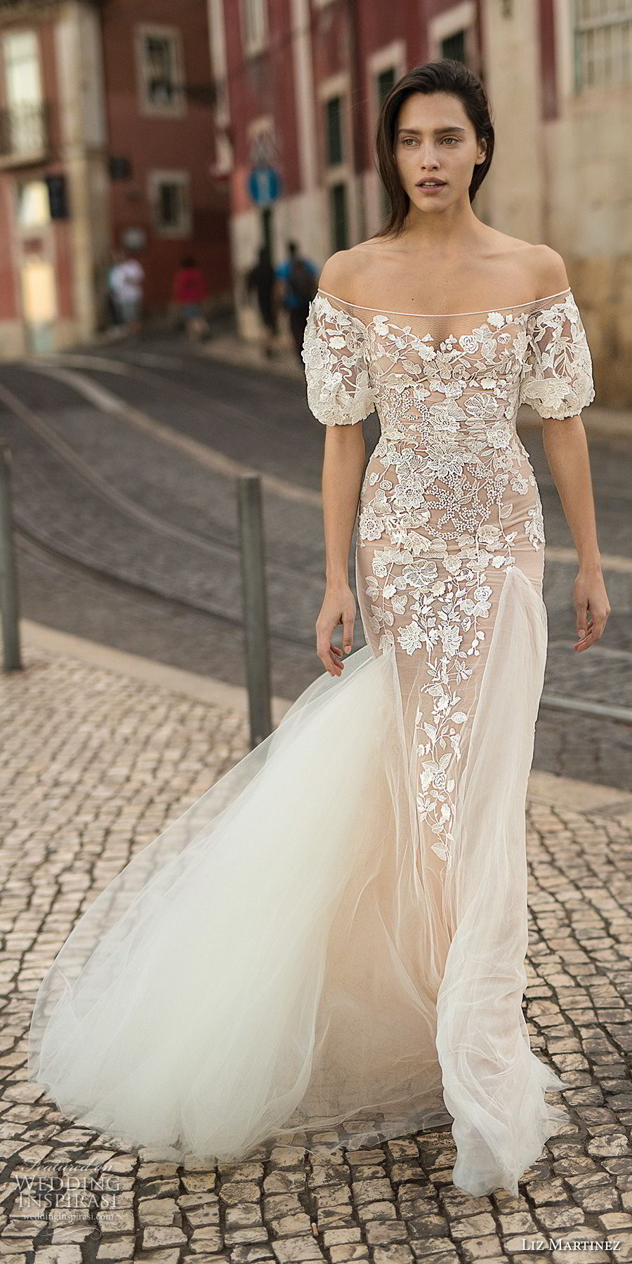 liz martinez 2018 lisbon off the shoulder sweetheart neckline full embellishment elegant romantic sheath fit and flare wedding dress (11) mv
