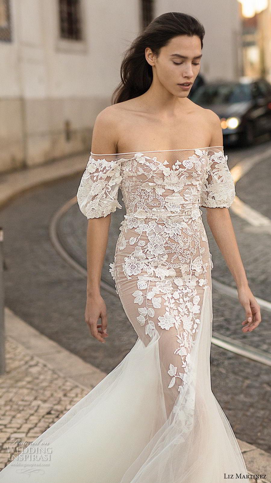 liz martinez 2018 lisbon off the shoulder sweetheart neckline full embellishment elegant romantic sheath fit and flare wedding dress (11) zv