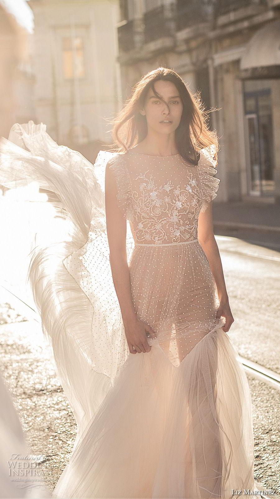liz martinez 2018 lisbon short butterfly sleeves jewel neck full embellishment romantic bohemian soft a line wedding dress open v back sweep train (7) mv
