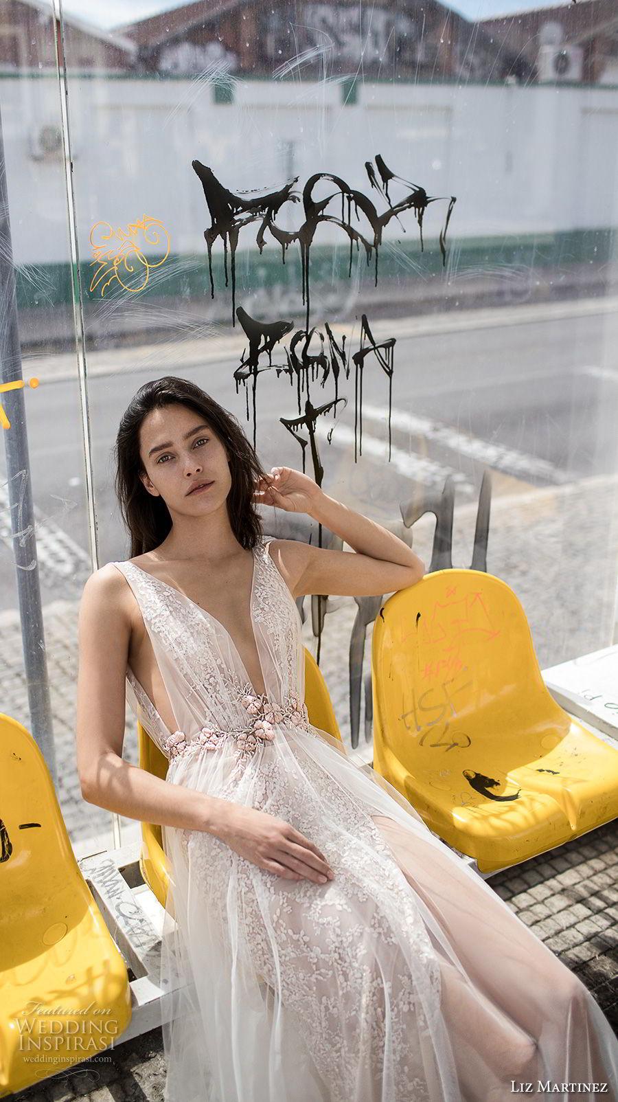 liz martinez 2018 lisbon sleeveless deep plunging v neck full embellishment romantic sexy soft a line wedding dress open v back sweep train (12) zv mv