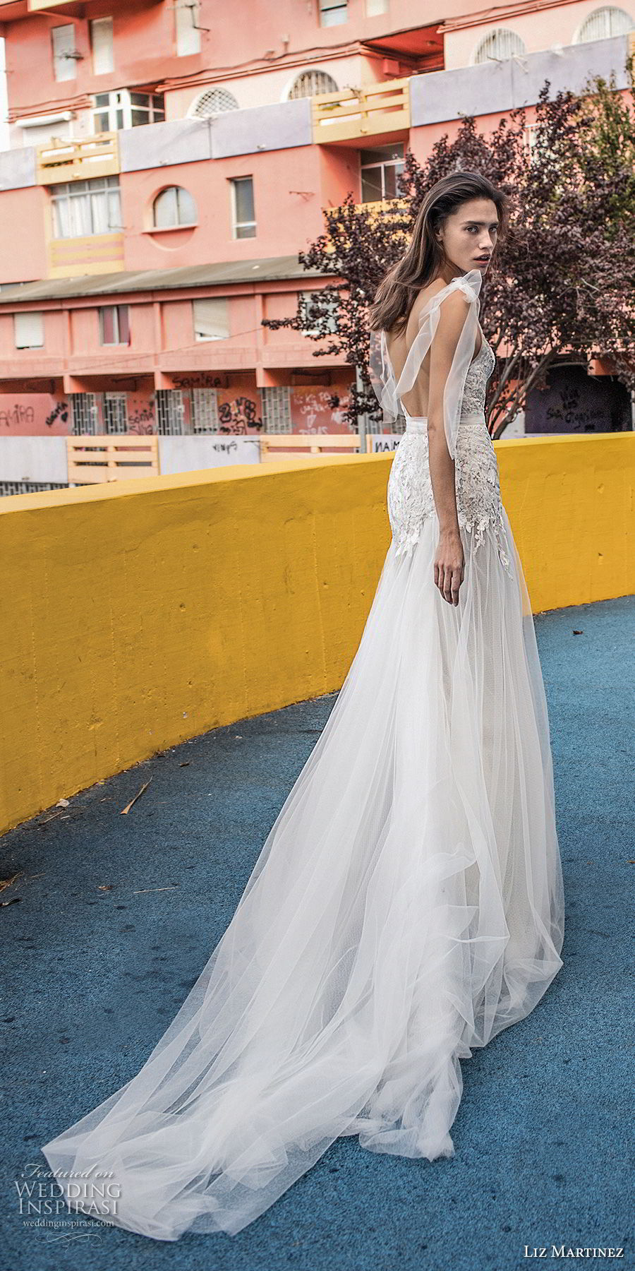 liz martinez 2018 lisbon sleeveless deep v neck heavily embellished bodice tulle skirt romantic a line wedding dress open scoop back chapel train (14) bv