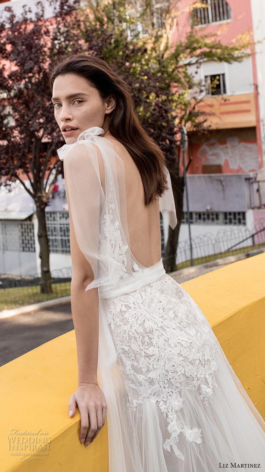 liz martinez 2018 lisbon sleeveless deep v neck heavily embellished bodice tulle skirt romantic a line wedding dress open scoop back chapel train (14) zbv