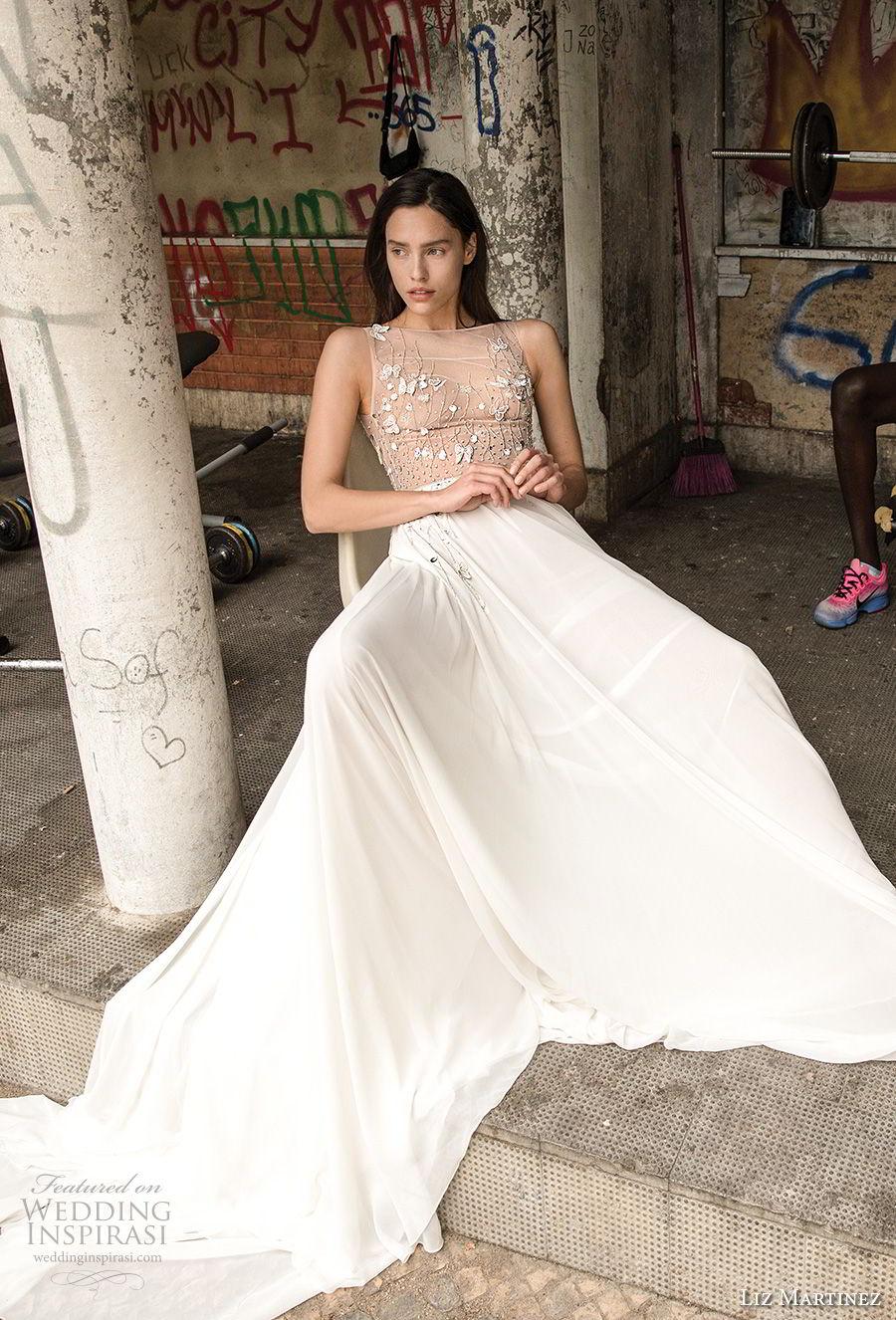 liz martinez 2018 lisbon sleeveless jewel neckline heavily embellished bodice elegant romantic soft a line wedding dress sweep train (13) mv