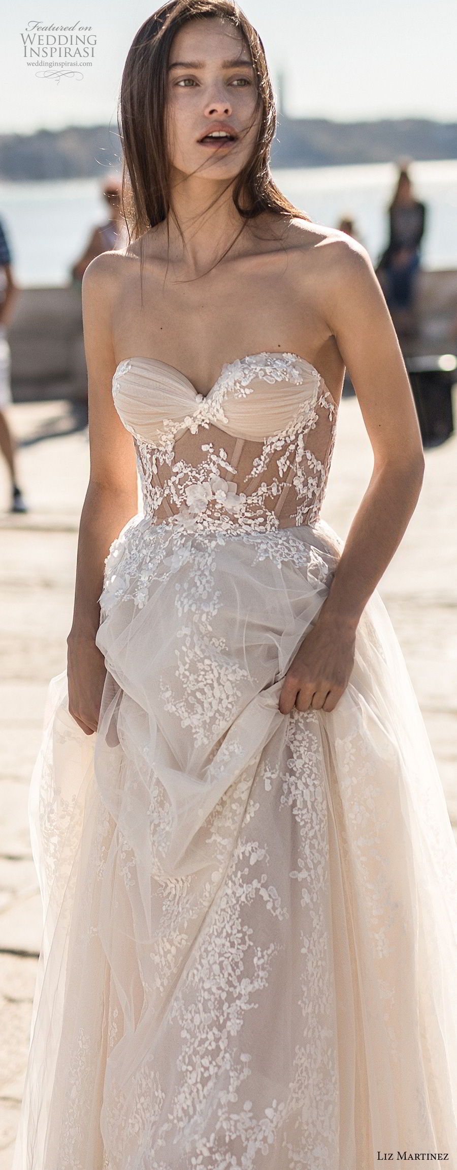 liz martinez 2018 lisbon strapless sweetheart neckline full embellishment romantic sexy soft a line wedding dress open back chapel train (10) mv