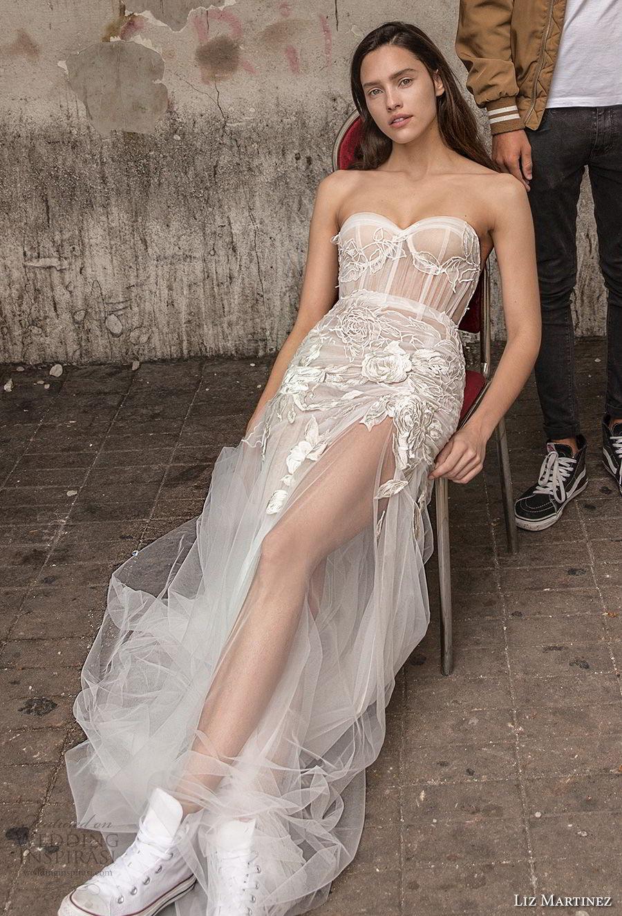 liz martinez 2018 lisbon strapless sweetheart neckline heavily embellished bodice bustier high slit sexy romantic sheath soft a line wedding dress (15) mv